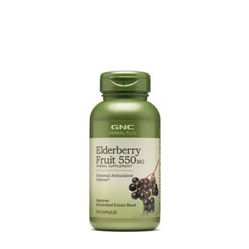 Снимка на GNC Herbal Plus Elderberry Fruit 550 mg/ Черен бъз 550 мг - Натурално средство за укрепване на имунитета