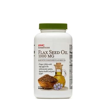 Снимка на GNC Super Foods Flax Seed Oil 1000 mg/ Ленено масло 1000 мг - Източник на Омега- 3 мастни киселини