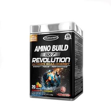 Снимка на Muscletech  Amino Build SX-7 Revolution- Strawberry Lemonade/ Масълтек Амино Билд SX-7 Революшън - Революционна формула ВСАА + кофеин,  безкомпромисна мощ и експлозивни тренировки