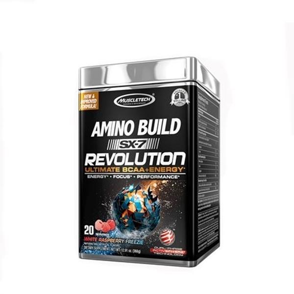 Picture of Muscletech  Amino Build SX-7 Revolution- White Raspberry Freezie/ Масълтек Амино Билд SX-7 Революшън - Революционна формула ВСАА + кофеин,  безкомпромисна мощ и експлозивни тренировки