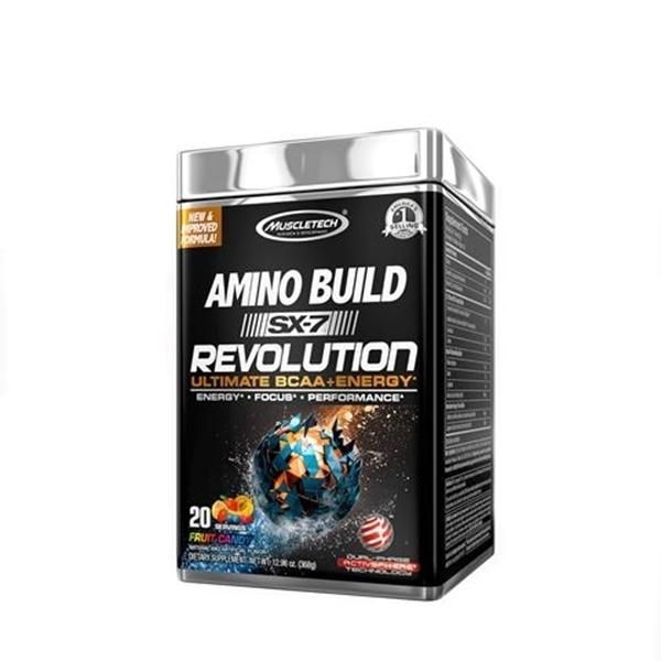 Picture of Muscletech  Amino Build SX-7 Revolution-Fruit Candy/ Масълтек Амино Билд SX-7 Революшън - Революционна формула ВСАА + кофеин,  безкомпромисна мощ и експлозивни тренировки