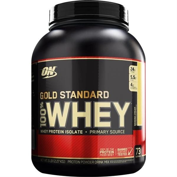 Picture of Optimum Nutrition 100% Whey Gold Standard™ Banana Cream/ Оптимум Нутришън Голд Стандарт 100% Суроватъчен Протеин - Златен стандарт в качеството на протеините