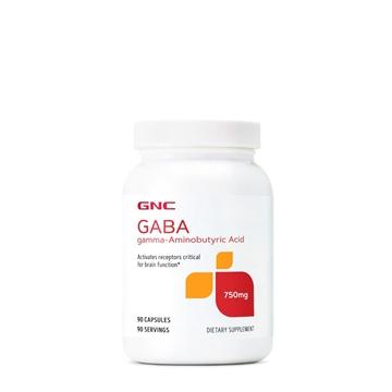 """Снимка на GNC GABA 750 mg/ ГАБА 750 мг - Природно успокоително и естествен успокояващ """"агент"""" на мозъка"""