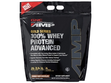 Снимка на GNC Pro Performance Amp amplified Gold 100% Whey Protein Advanced - Double rich chocolate/ Амр Амплифайд Голд 100 % Суроватъчен Протеин Адвансд– Вкусен и лесно разтворим суроватъчен протеин